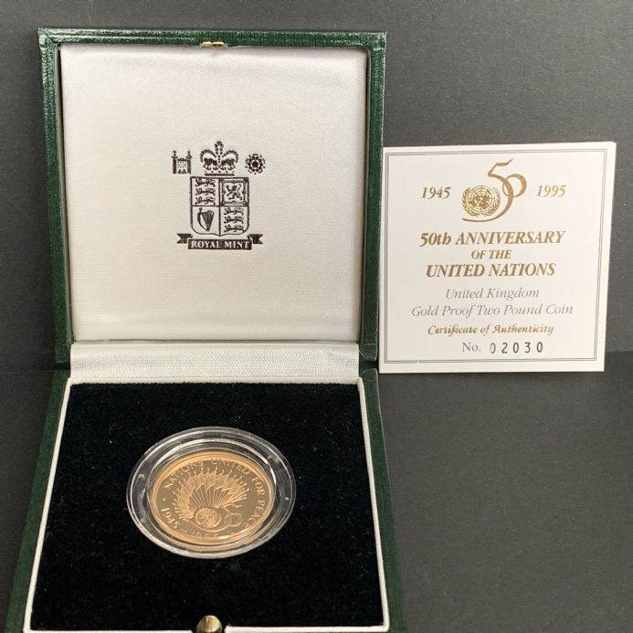 1995 £2 Gold Double Sovereign 50th year Anniversary  of the United Nations